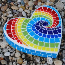 mosaic heart stepping stone