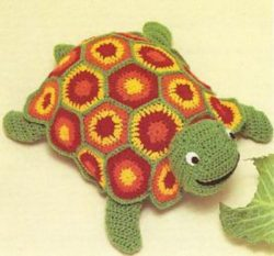 crochet turtle pillow