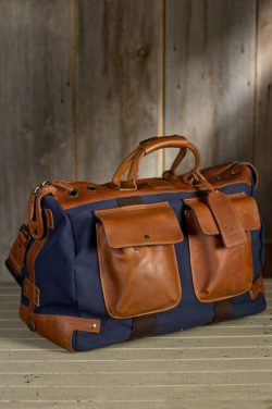 modern leather duffel bag