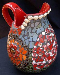 Mosaic Jug Vase Red