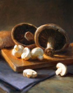 beautiful mushroom oil painting