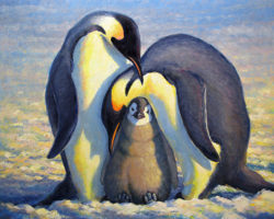 penguin oil painting