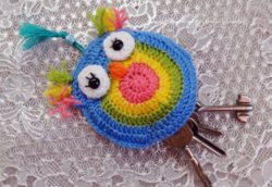 crochet animal key holder