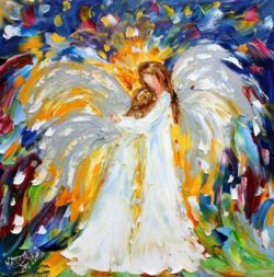 women angel oil painting