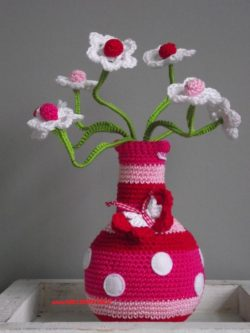 beautiful crochet vase