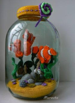 crochet fish in a jar