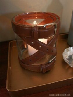 modern leather candle holder