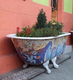 mosaic bathtub art