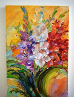 gladiolus flower oil painting