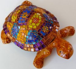 mosaic turtles sculpture