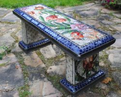 mosaic outdoor garden bench