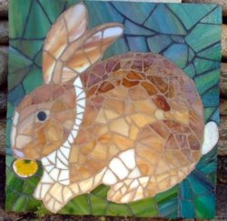 beautiful mosaic rabbit art