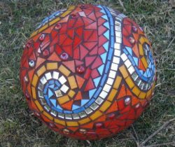 mosaic red sphere ball