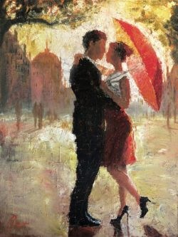 couple under umbrella oil painting