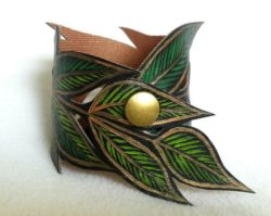 leather leaves cuff