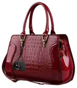 leather crocodile handbag