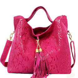 leather women bag with tassels